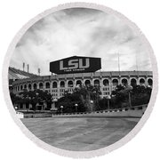 Lsu Tiger Stadium Round Beach Towel