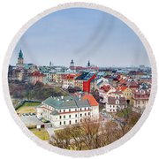 Lublin Old Town Panorama Poland Round Beach Towel