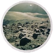 Lunar Rover At Rim Of Camelot Crater Round Beach Towel
