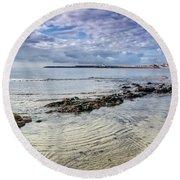 Lyme Regis Seascape - October Round Beach Towel
