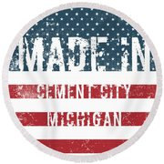 Made In Cement City, Michigan Round Beach Towel