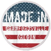Made In Crawfordsville, Oregon Round Beach Towel
