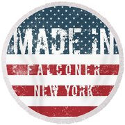 Made In Falconer, New York Round Beach Towel
