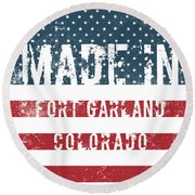 Made In Fort Garland, Colorado Round Beach Towel