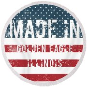 Made In Golden Eagle, Illinois Round Beach Towel