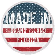 Made In Grand Island, Florida Round Beach Towel