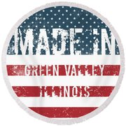 Made In Green Valley, Illinois Round Beach Towel