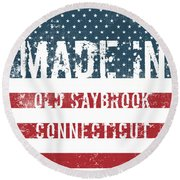 Made In Old Saybrook, Connecticut Round Beach Towel