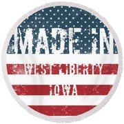 Made In West Liberty, Iowa Round Beach Towel