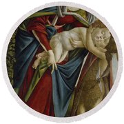 Madonna And Child And The Young St John The Baptist Round Beach Towel