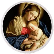 Madonna And Child Round Beach Towel by Il Sassoferrato