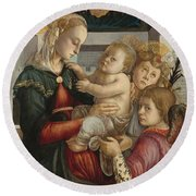 Madonna And Child With Angels Round Beach Towel