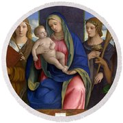 Madonna And Child With Saints Round Beach Towel