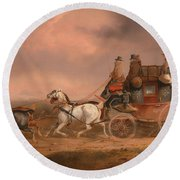 Mail Coaches On The Road Round Beach Towel