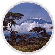 Majestic Mount Kilimanjaro Round Beach Towel