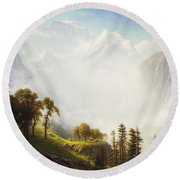 Majesty Of The Mountains Round Beach Towel by Albert Bierstadt