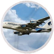 Malaysia Airlines Airbus A380 Round Beach Towel