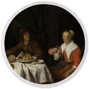 Man And Woman At A Meal Round Beach Towel