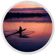 Man Rowing On Montlake Cut Round Beach Towel