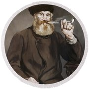 Man Smoking A Pipe Round Beach Towel