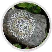 Mandala Stone  Round Beach Towel