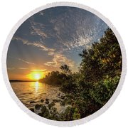 Mangrove Sunrise Round Beach Towel
