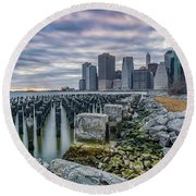 Manhattan Skyline Round Beach Towel