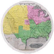 Map Of The United States Round Beach Towel