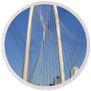 Margaret Hunt Hill Bridge In Dallas - Texas Round Beach Towel