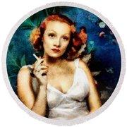 Marlene Dietrich, Vintage Actress Round Beach Towel