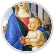 Mary With Baby Jesus Round Beach Towel