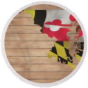 Maryland Rustic Map On Wood Round Beach Towel
