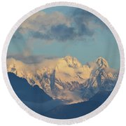Massive Snow Caped Mountains In The Countryside Of Italy  Round Beach Towel