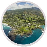 Maui Aerial Of Kapalua Round Beach Towel
