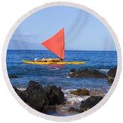 Maui Sailing Canoe Round Beach Towel