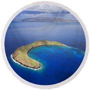 Maui, View Of Islands Round Beach Towel