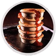 Meat Pies With Sauce And High Contrast Lighting. Round Beach Towel