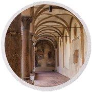 Medieval Hallway Of Italian Cloister Round Beach Towel
