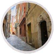 Medieval Street In Villefranche-sur-mer Round Beach Towel