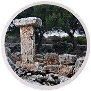 Megalithic Taula In Binisafua Menorca Bronze Age Round Beach Towel