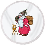 Merry Christmas. Round Beach Towel