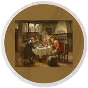 Merry Company In A Dutch Interior Round Beach Towel