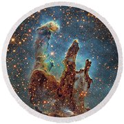 Messier 16, The Eagle Nebula In Serpens Round Beach Towel