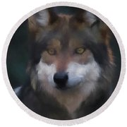 Mexican Grey Wolf Da Round Beach Towel