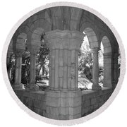 Miami Monastery In Black And White Round Beach Towel