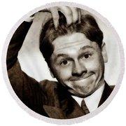 Mickey Rooney, Vintage Actor Round Beach Towel