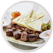 Middle Eastern Food Mixed Bbq Barbecue Grilled Meat Set Meal Round Beach Towel