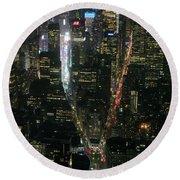 Midtown West Manhattan Skyline Aerial At Night Round Beach Towel