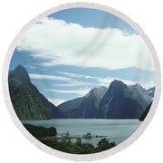 Milford Sound Round Beach Towel