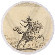Military Commander On Horseback Round Beach Towel